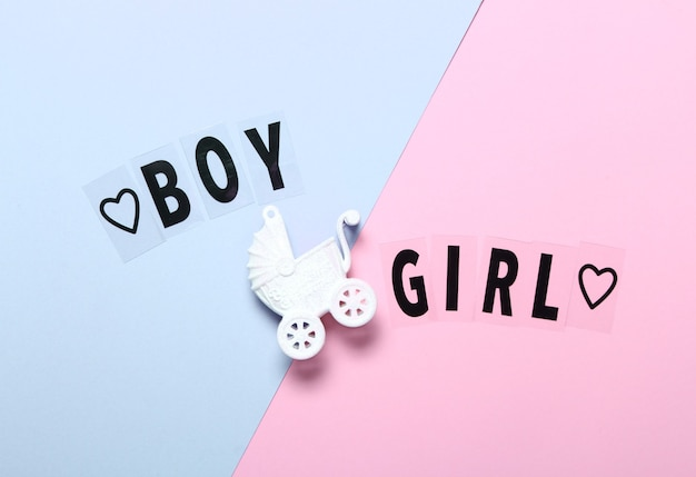 Flat lay composition with toy stroller and words boy girl on light blue and pink background background.