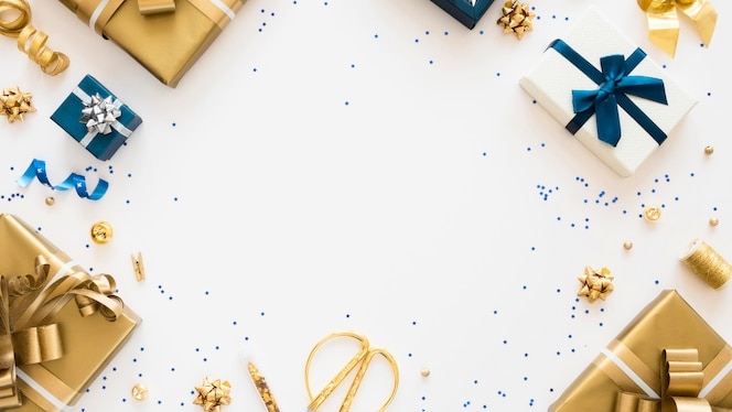 Flat lay composition of wrapped presents with copy space