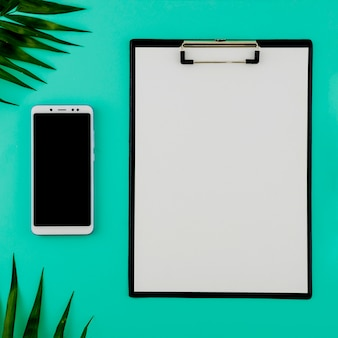 Flat lay concept of clipboard