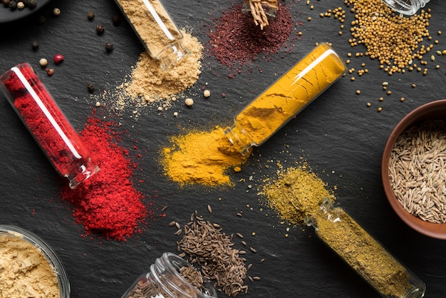Flat lay containers with spices