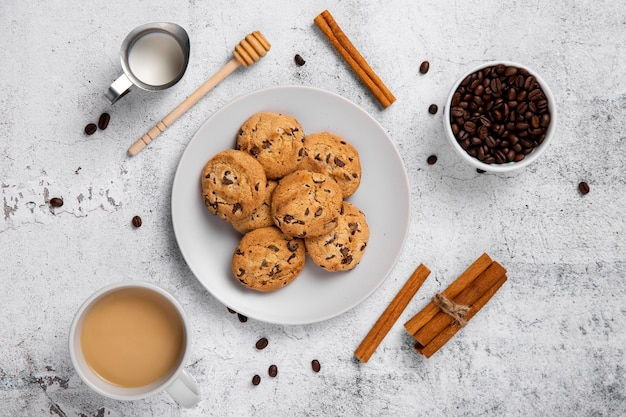 Flat lay cookies and coffee
