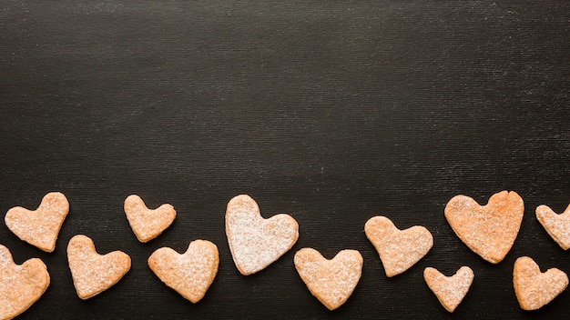Flat lay of cookies for valentines day