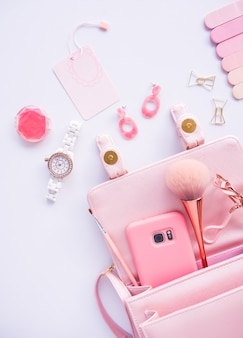 Flat lay of cosmetic accessories.