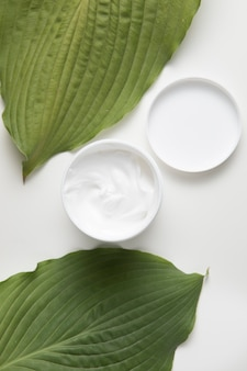 Flat lay of cream and leaves on white background