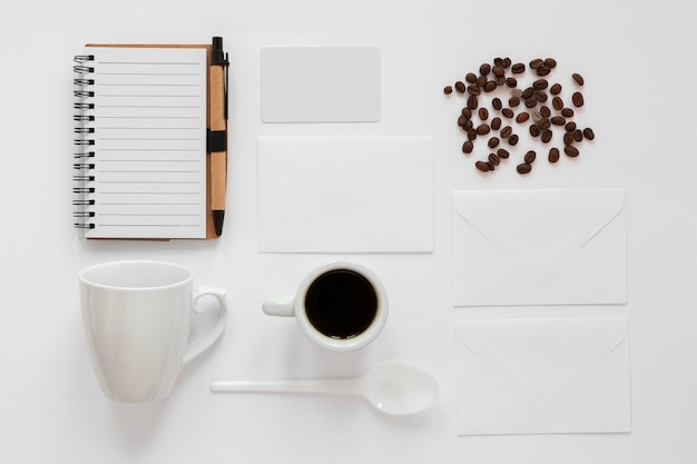 Flat lay creative arrangement of coffee elements