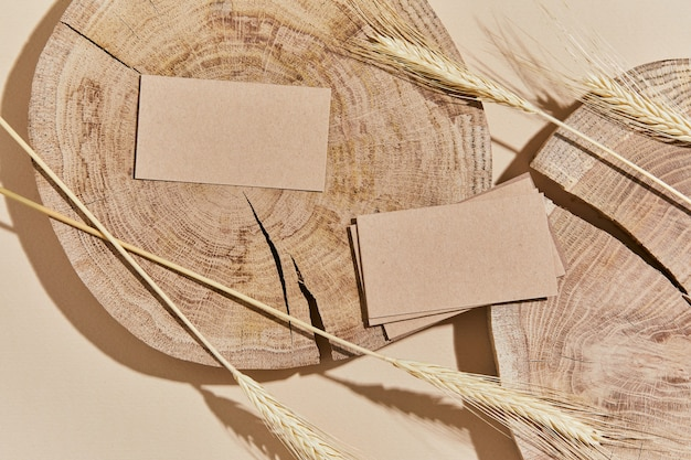 Flat lay of creative composition with mock up visit cards, wood, natural materials, dry plants and personal accessories. neutral colors, top view, template.