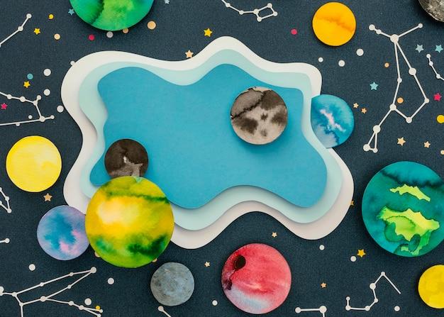 Плоский набор креативных бумажных планет