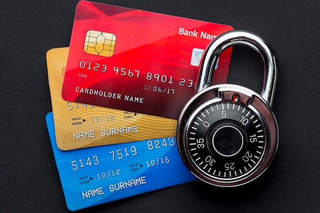 Flat lay of credit cards with lock