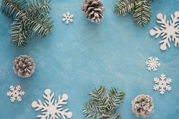 Flat lay cute winter snowflakes