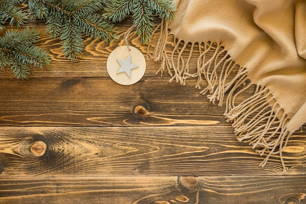 Flat lay cute winter on wooden background