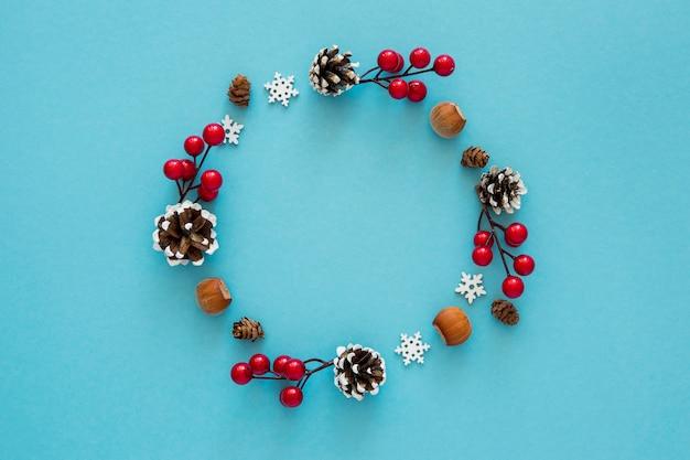 Flat lay cute winter wreath of elements