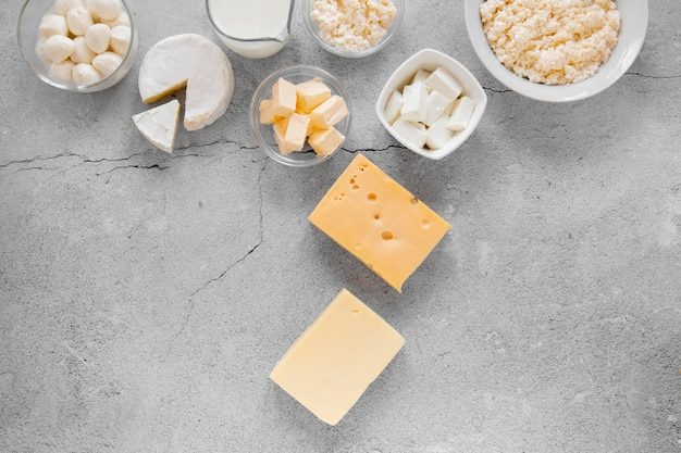 Flat lay dairy products arrangement