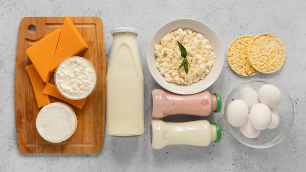 Flat lay dairy products assortment