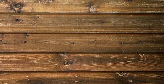水平の茶色の板で作られたフラットレイダークテクスチャ木製の背景テキスト用のスペース
