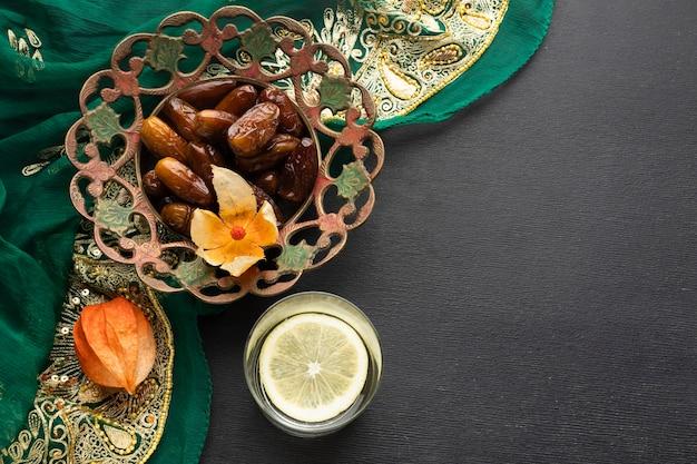 Flat lay dates and sari arrangement