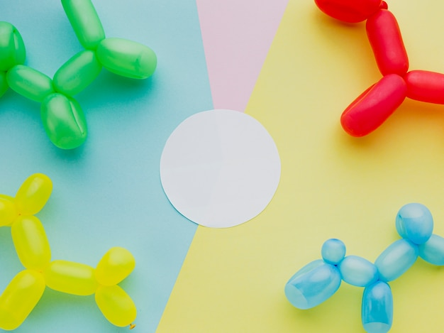 Flat lay decoration with cute balloons