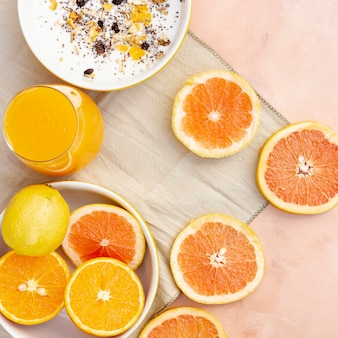 Flat lay decoration with healthy orange juice