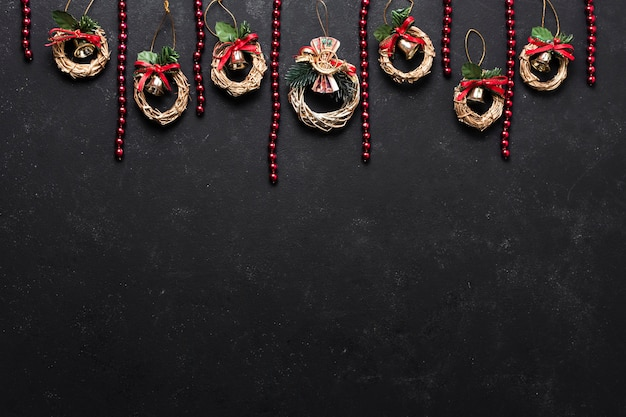 Flat lay decorative christmas arrangement with copy space