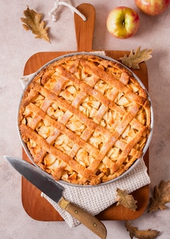 Flat lay of delicious apple pie for thanksgiving