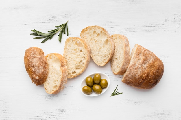 Flat lay of delicious bread concept