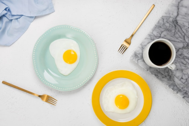 Flat lay of delicious breakfast concept