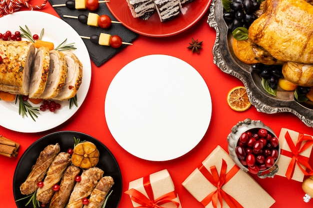 Flat lay delicious christmas food arrangement