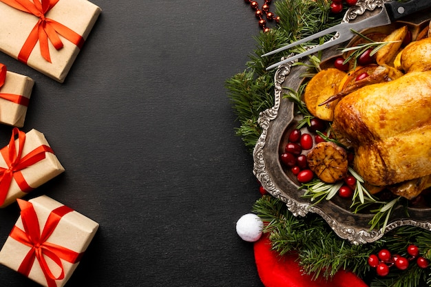 Flat lay delicious christmas food assortment with copy space