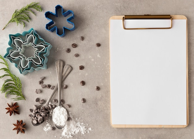 Flat lay of delicious cookies with copy space