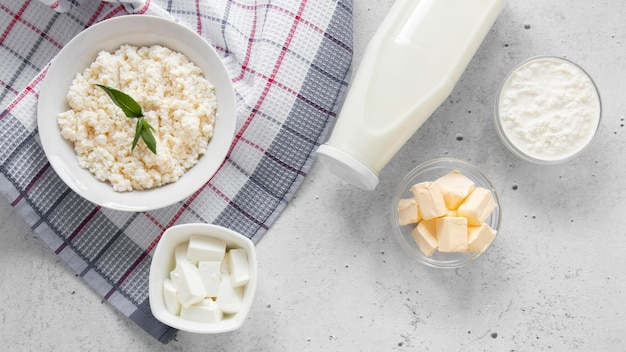 Flat lay delicious dairy products
