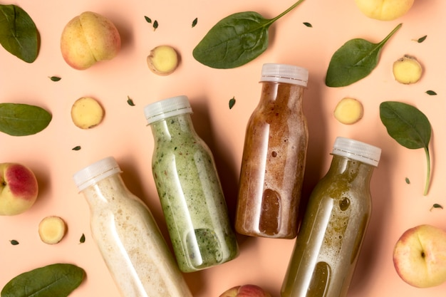 Flat lay delicious detox drinks