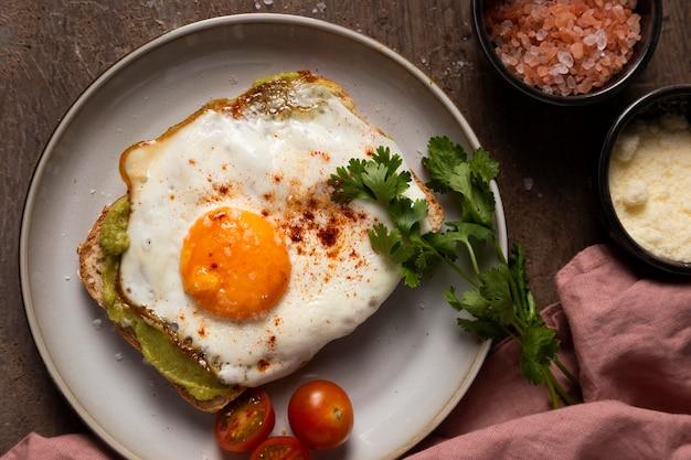 Flat lay delicious egg sandwich