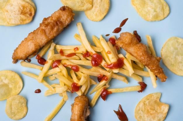 Piatto di laici deliziosi fish and chips concept
