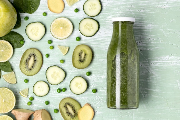 Flat lay delicious green smoothie