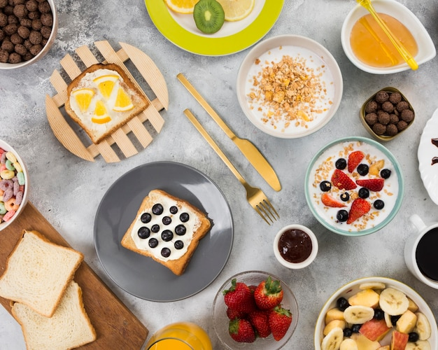 Flat lay of delicious healthy breakfast