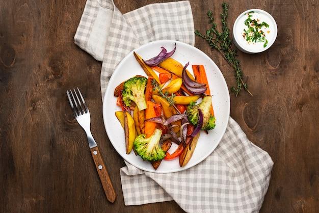 Плоская планировка вкусной местной еды