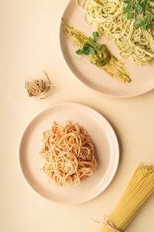 Flat lay delicious meal arrangement