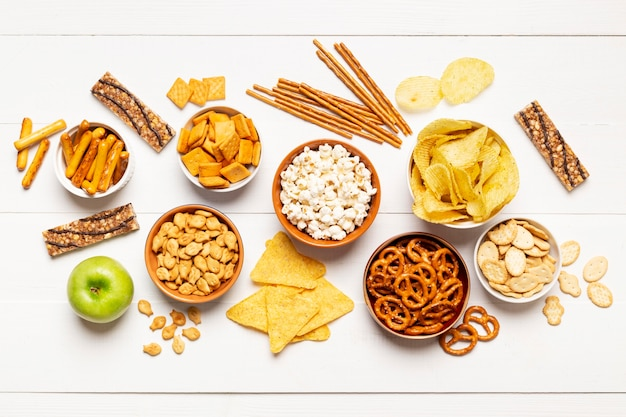 Flat lay delicious salty snacks