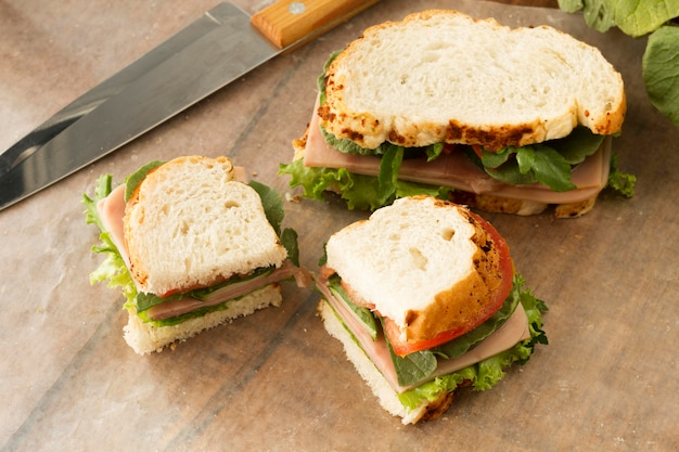 Flat lay delicious sandwich with vegetables