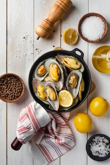 Flat lay delicious seafood composition