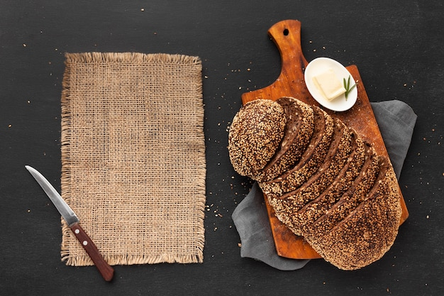 Flat lay of delicious seed bread concept