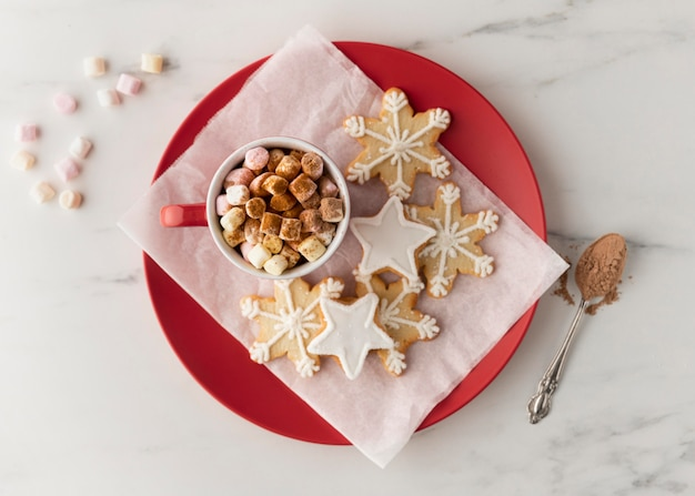 Flat lay of delicious snowflake biscuits concept