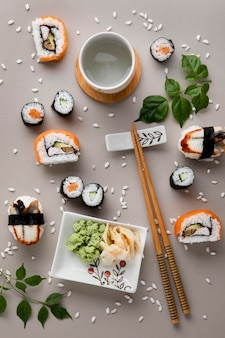 Flat lay of delicious sushi concept