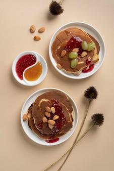 Flat lay delicious sweets arrangement