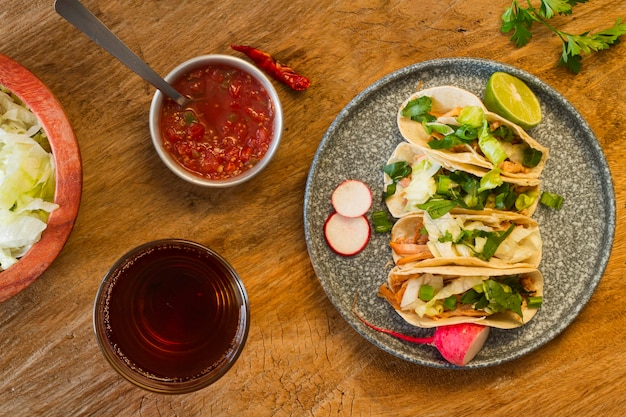 Flat lay delicious taco ingredients