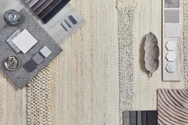 Плоский дизайн креативной композиции мудборда архитектора с образцами зданий, бежевым текстилем и натуральными материалами, а также личными аксессуарами. вид сверху, шаблон.