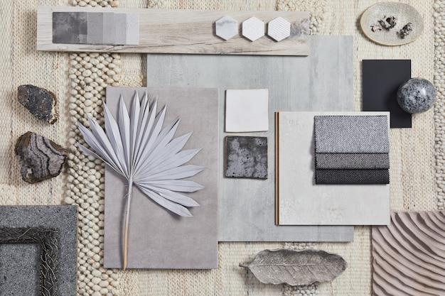 건물, 베이지색 직물, 천연 재료 및 개인 액세서리 샘플을 사용한 창의적인 건축가 무드보드 구성의 평평한 디자인. 상위 뷰, 템플릿입니다.