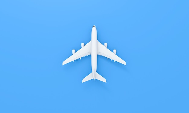 Flat lay design of travel concept. white plane on blue background. travel by plane vacation summer weekend sea adventure trip journey ticket tour concept. 3d rendering.