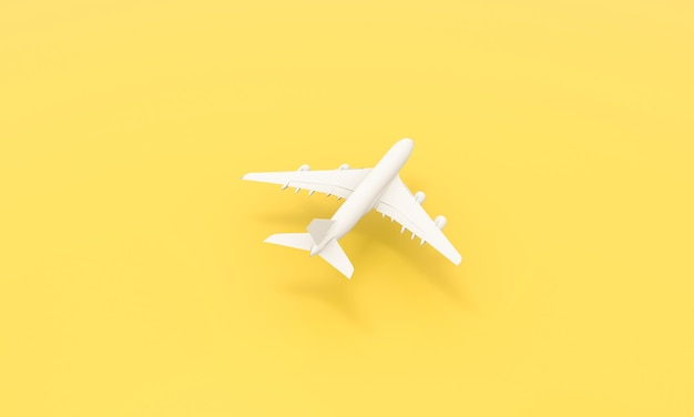 Flat lay design of travel concept. white plane on yellow background. travel by plane vacation summer weekend sea adventure trip journey ticket tour concept. 3d rendering.