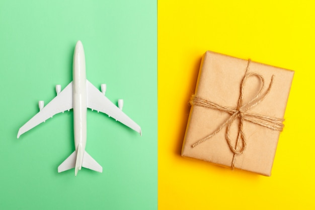 Flat lay design of travel concept with plane
