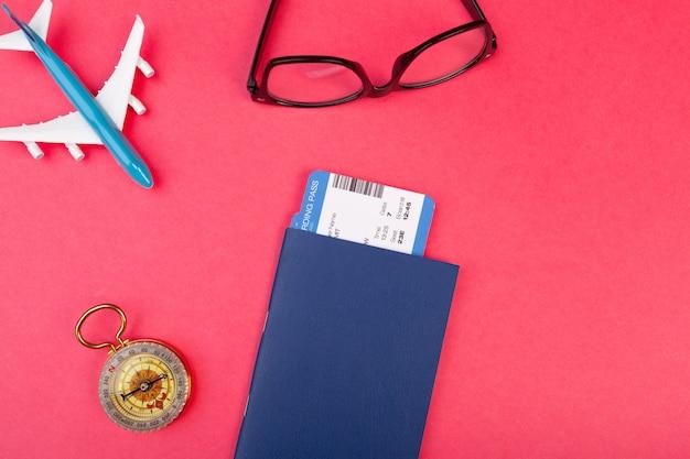 Flat lay design of travel summer